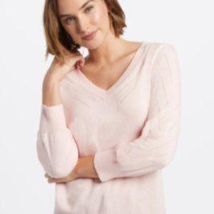 NWT! Draper James Light Pink V-Neck Puff Sweater
